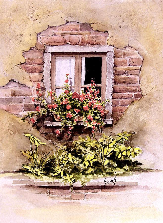 Window Painting - Window Flowers by Sam Sidders