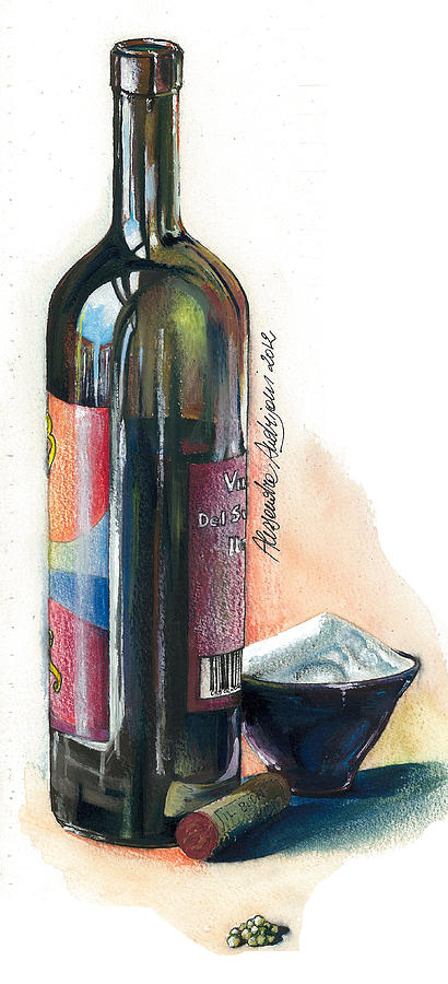 Landscape Painting - Window On A Bottle by Alessandra Andrisani