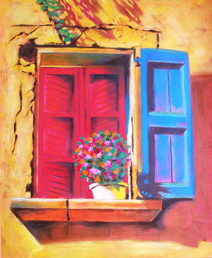 France Painting - Window On The Rue In Roussillon France by Susi Franco