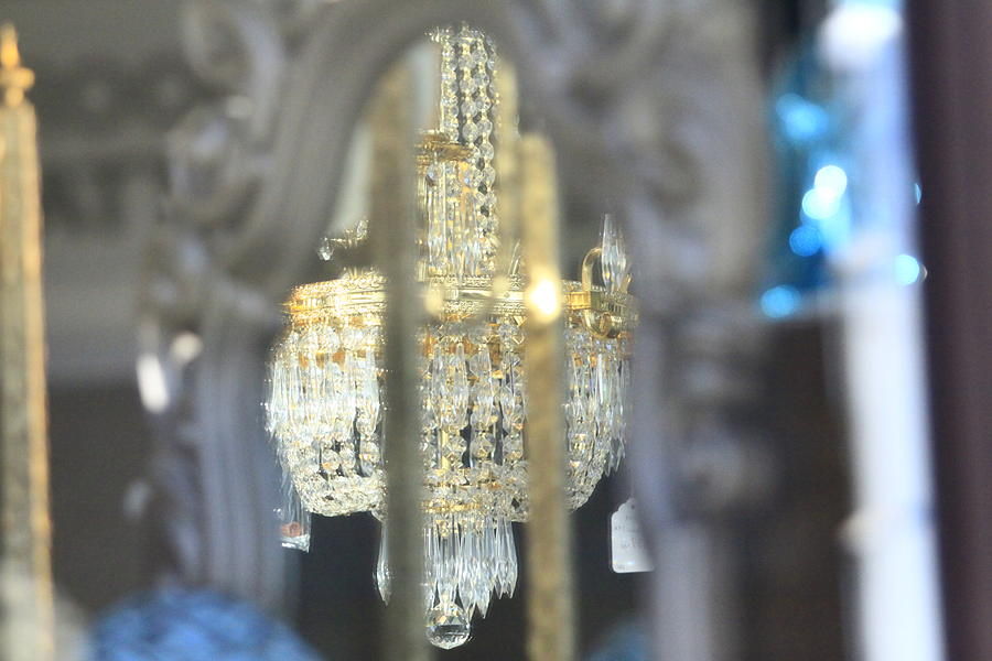 Mirror Reflection Old Carved Frame Chandelier Candells Photograph - Window Reflection by Donald Torgerson
