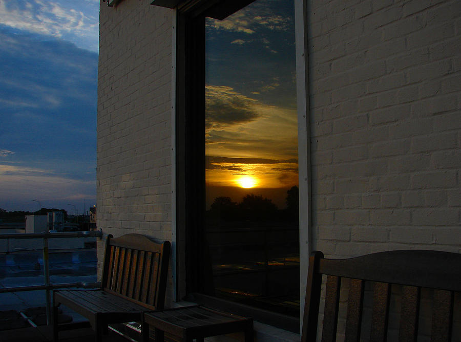 Photo Photograph - Awesome Sunset Window Reflections Downtown Charleson Sc by Ella Char