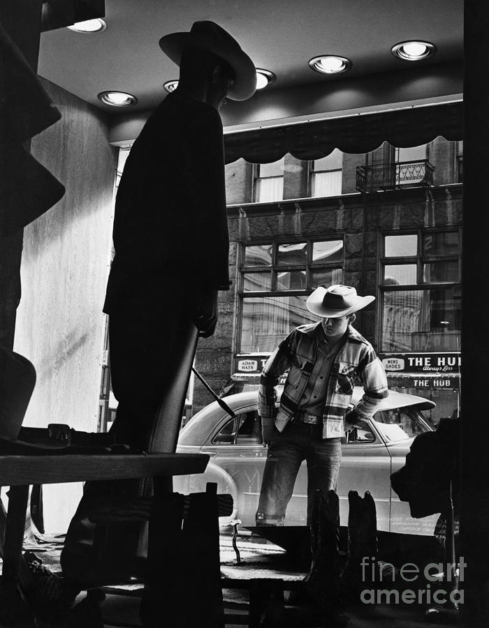 Retail Photograph - Window Shopping Cowboy by Photo Researchers