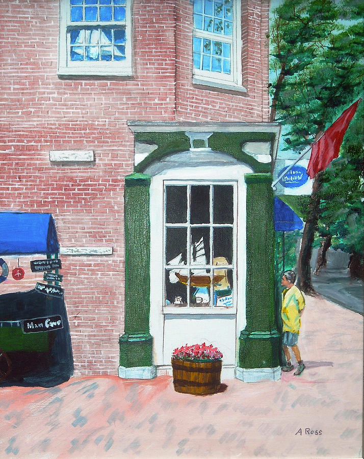 Landscape Painting - Window Shopping Newburyport by Anthony Ross