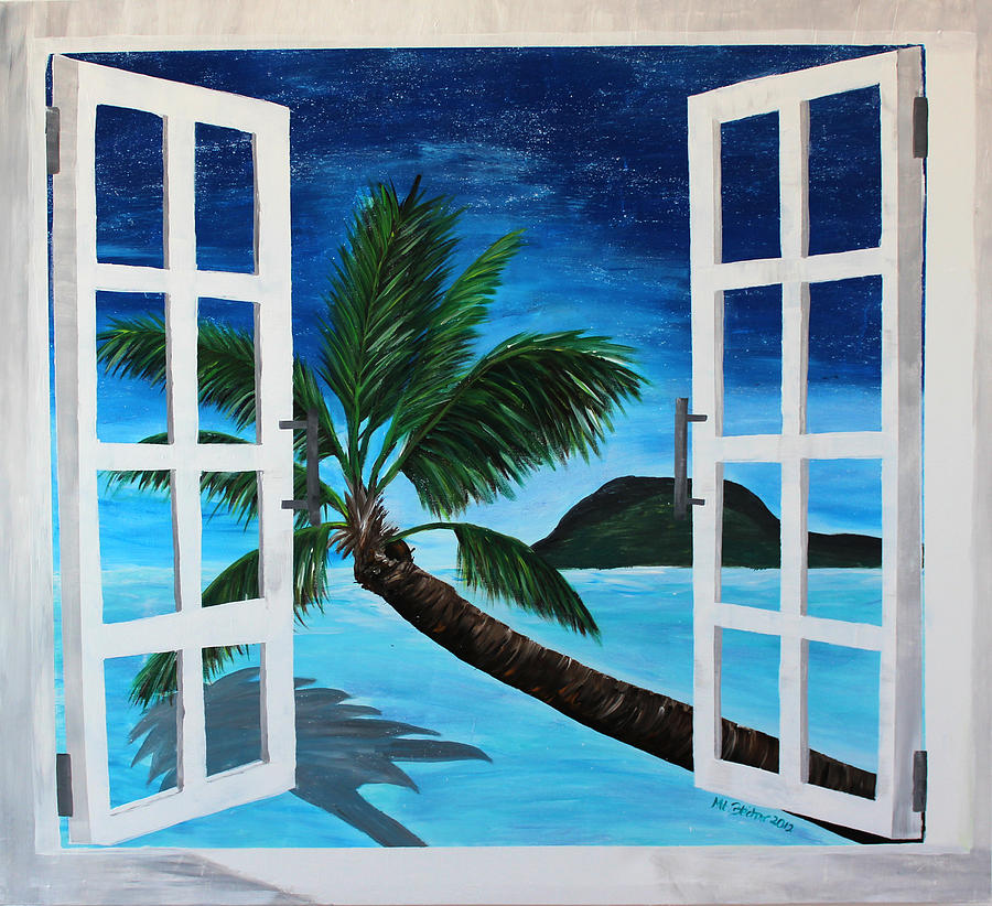 window to paradise beach painting by m bleichner. Black Bedroom Furniture Sets. Home Design Ideas