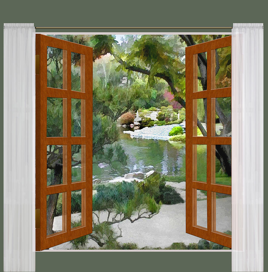 Window View Glimpse Of Tranquility Japanese Garden