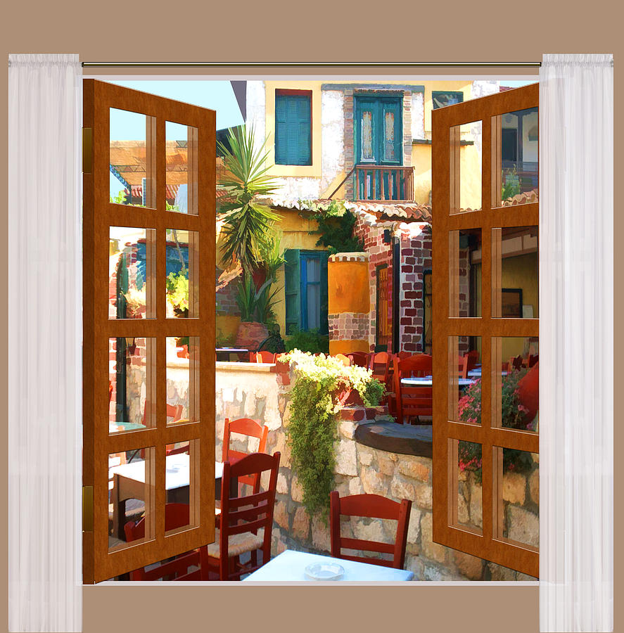 Window View Mediterranean Cafe Painting by Elaine Plesser