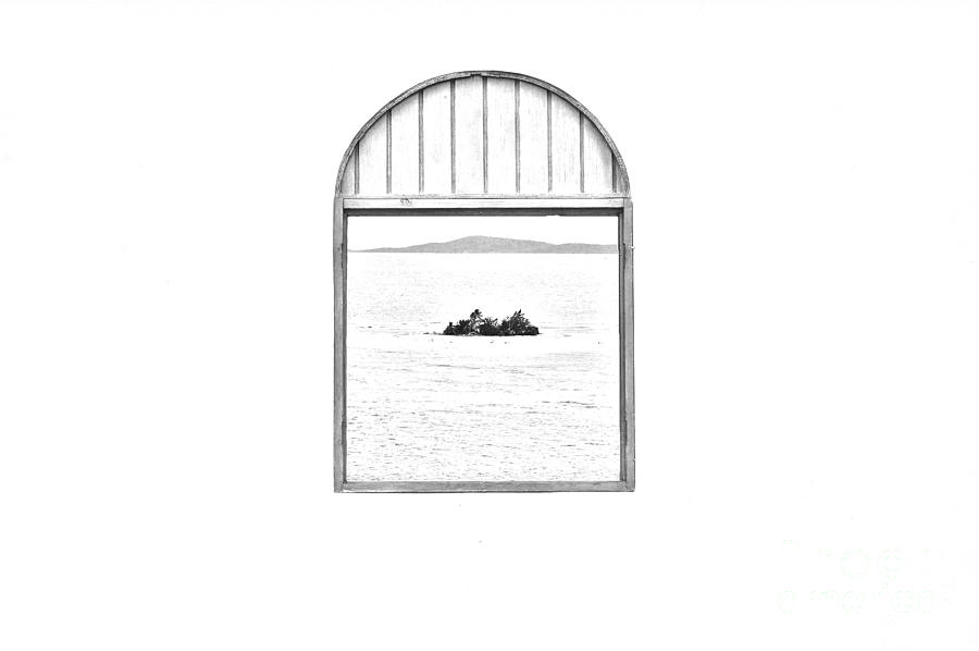 Puerto Rico Digital Art - Window View Of Desert Island Puerto Rico Prints Black And White Line Art by Shawn OBrien