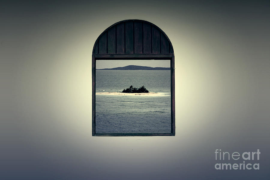 Puerto Rico Digital Art - Window View Of Desert Island Puerto Rico Prints Lomography by Shawn OBrien