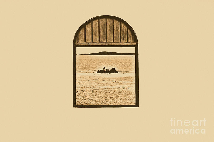 Puerto Rico Digital Art - Window View Of Desert Island Puerto Rico Prints Rustic by Shawn OBrien