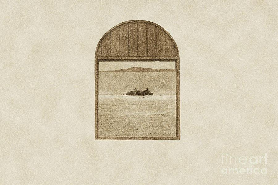 Puerto Rico Digital Art - Window View Of Desert Island Puerto Rico Prints Vintage by Shawn OBrien