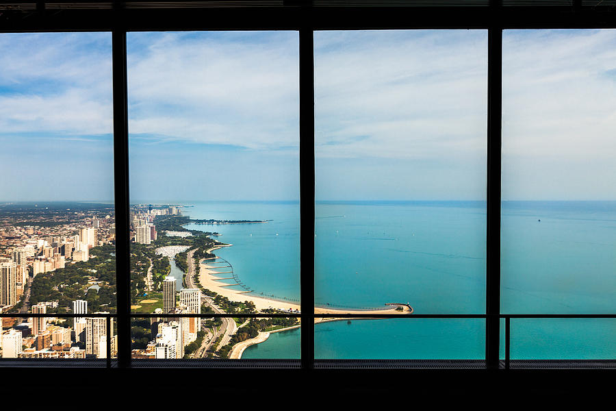 Window View Of Lake Shore Chicago, Usa  by Lightkey