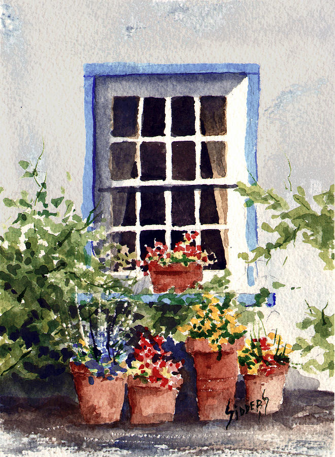 Window Painting - Window With Blue Trim by Sam Sidders