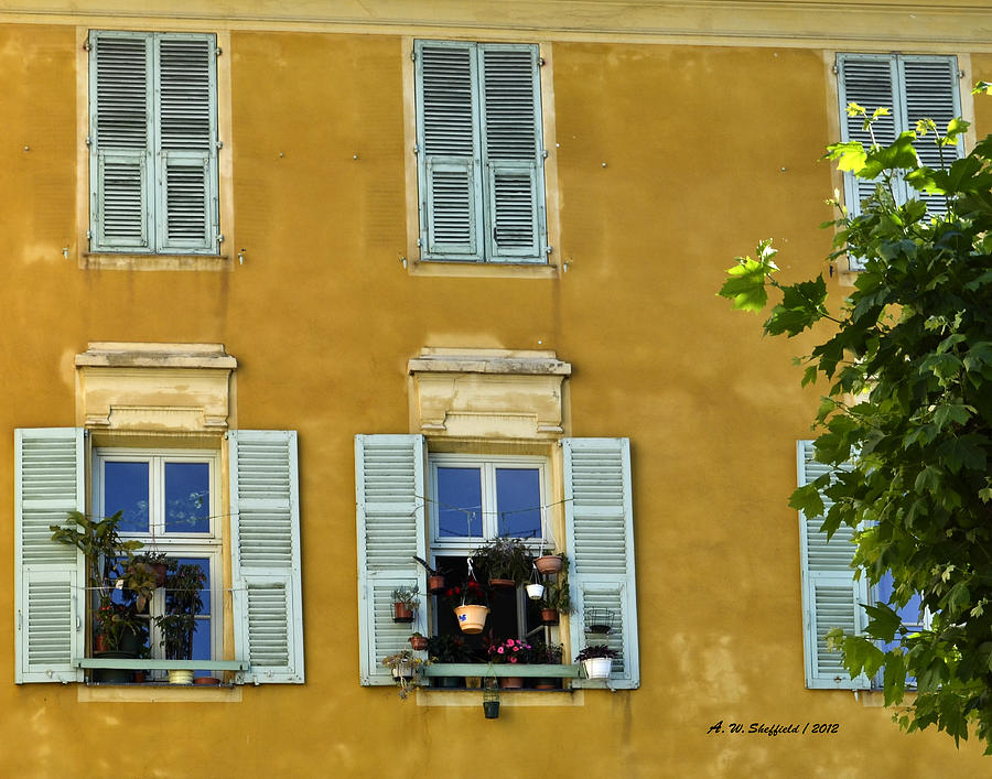 Nice Photograph - Windowboxes In Nice France by Allen Sheffield
