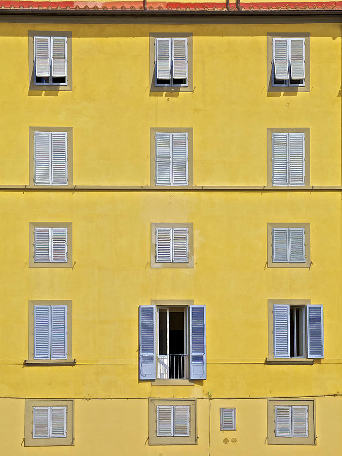 Balcony Photograph - Windows Of Florence Against A Faded Yellow Plaster Wall by David Letts