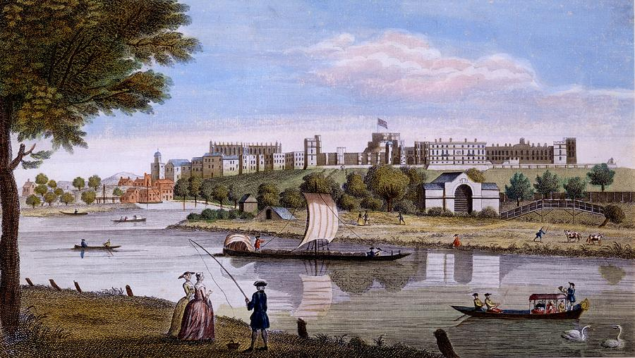 Windsor Castle Drawing - Windsor Castle From Across The Thames by English School