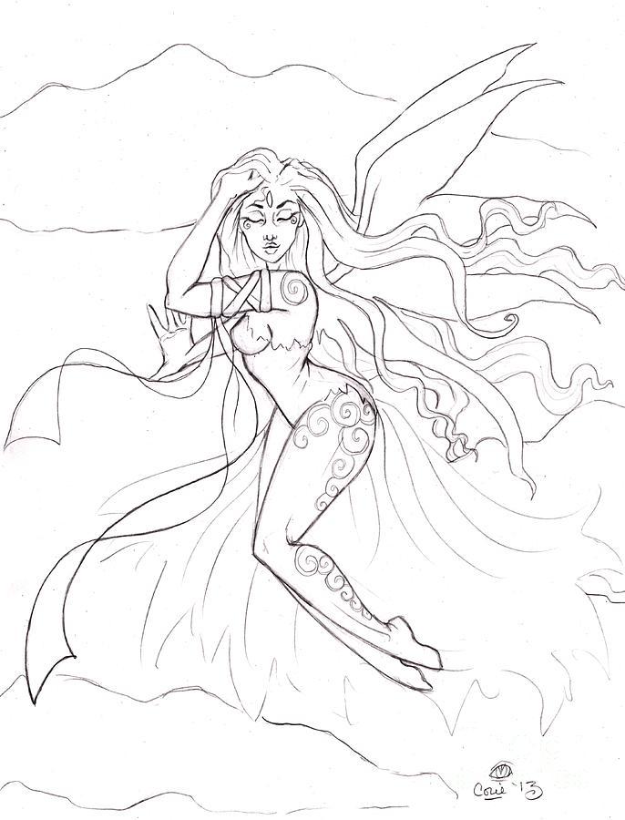 Wind Drawing - Windsprite Sketch by Coriander  Shea