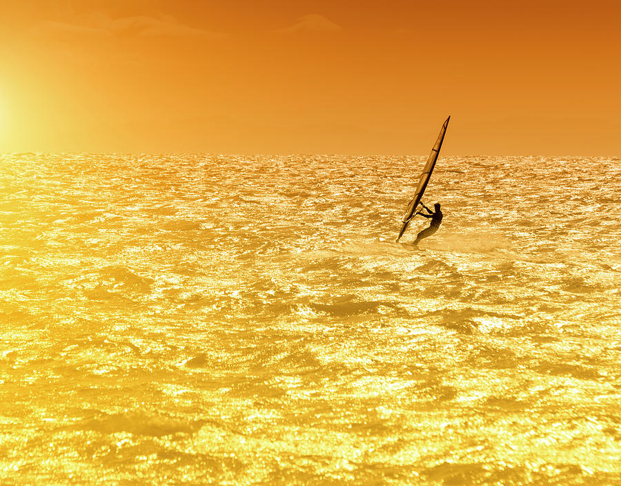 Windsurfer In The Sea At Sunset Photograph by Cirano83