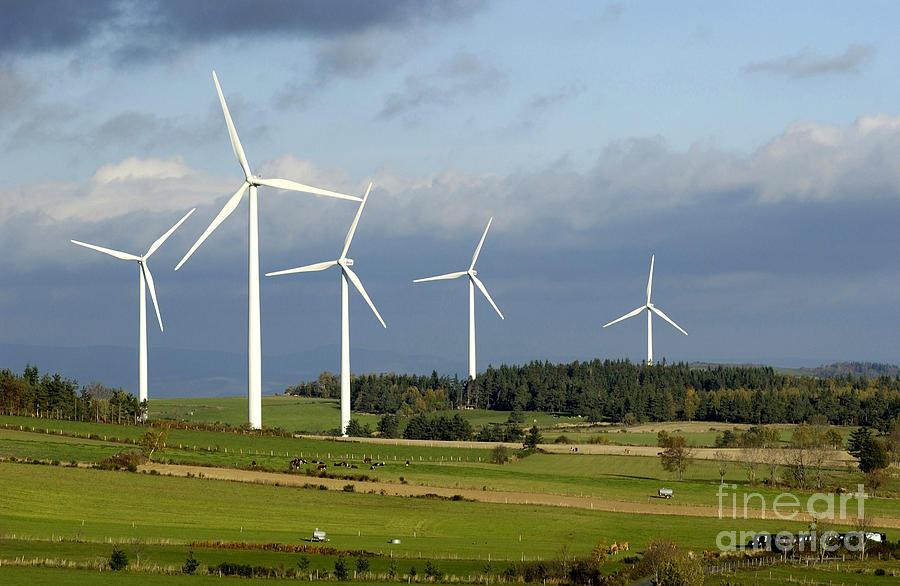 Auvergne Photograph - Windturbines by Bernard Jaubert