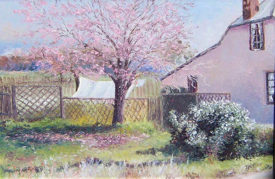 Spring Landscape Painting - Windy Washing Day by Jan Matson