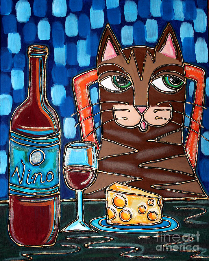Wine Painting - Wine And Cheese Cat by Cynthia Snyder