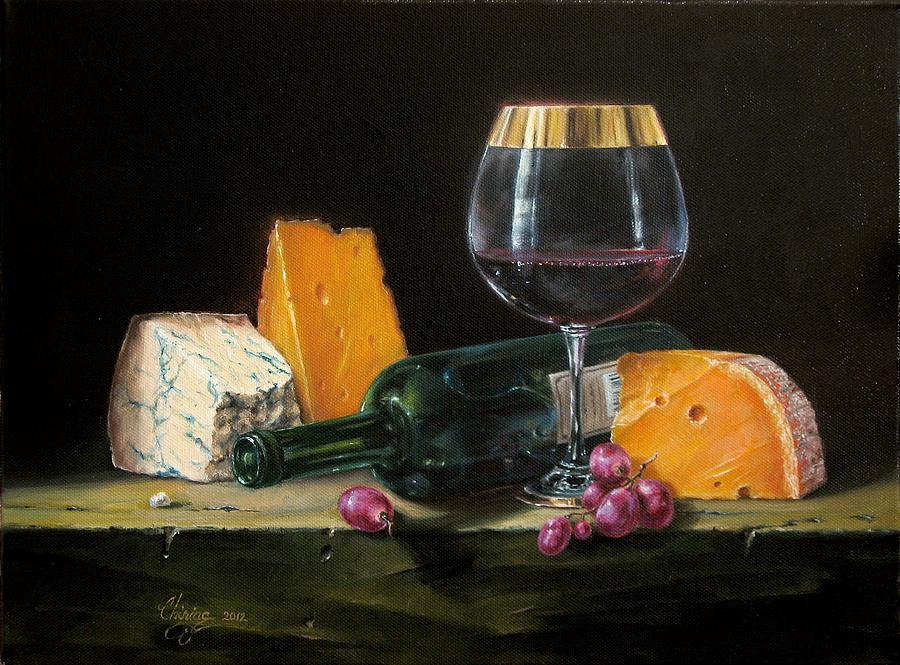 Wine Painting - Wine and cheese by Daniel Cristian Chiriac