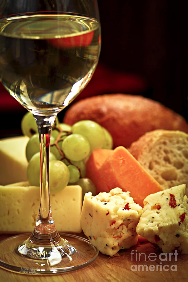 Wine And Cheese Photograph