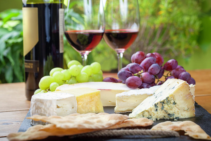Wine And Cheese Platter Photograph by Nicolamargaret