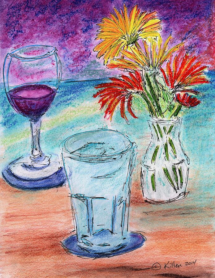 Modern Painting - Wine And Flowers 2 by William Killen