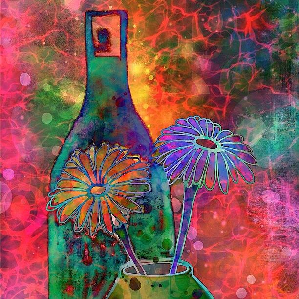 Digitalart Photograph - Wine And Flowers #ipadart Just Playin by Robin Mead