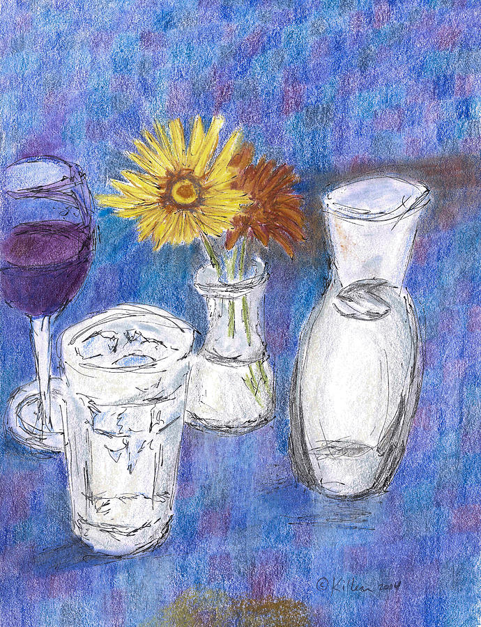 Modern Painting - Wine And Flowers by William Killen