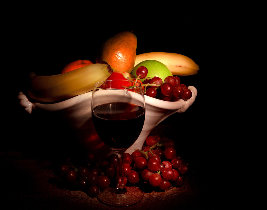 Fruit Photograph - Wine And Fruit by Cecil Fuselier