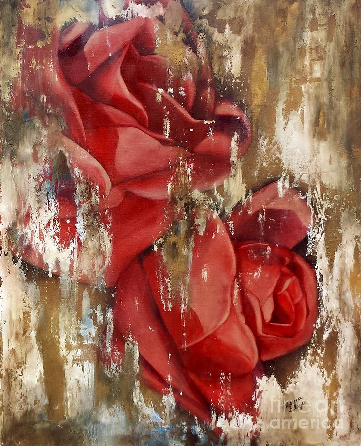 Red Rose Painting - Wine And Roses by Rebecca Glaze