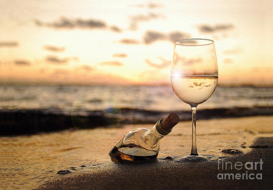 Sunset Photograph - Wine and Sunset by Jon Neidert