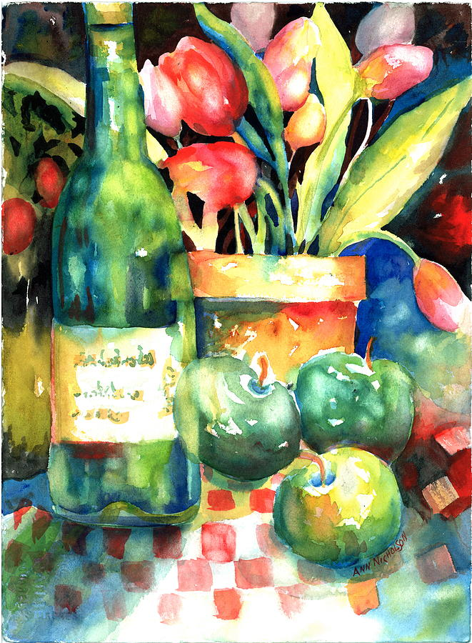 Tulips Painting - Wine And Tulips by Ann  Nicholson