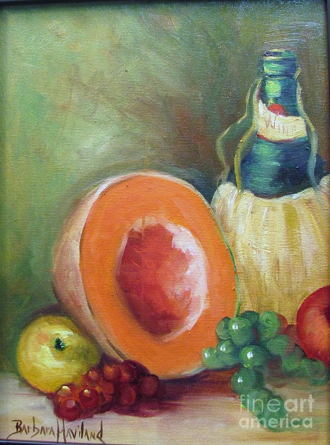 Apple Painting - Wine Bottle Cantaloup and Grapes by Barbara Haviland