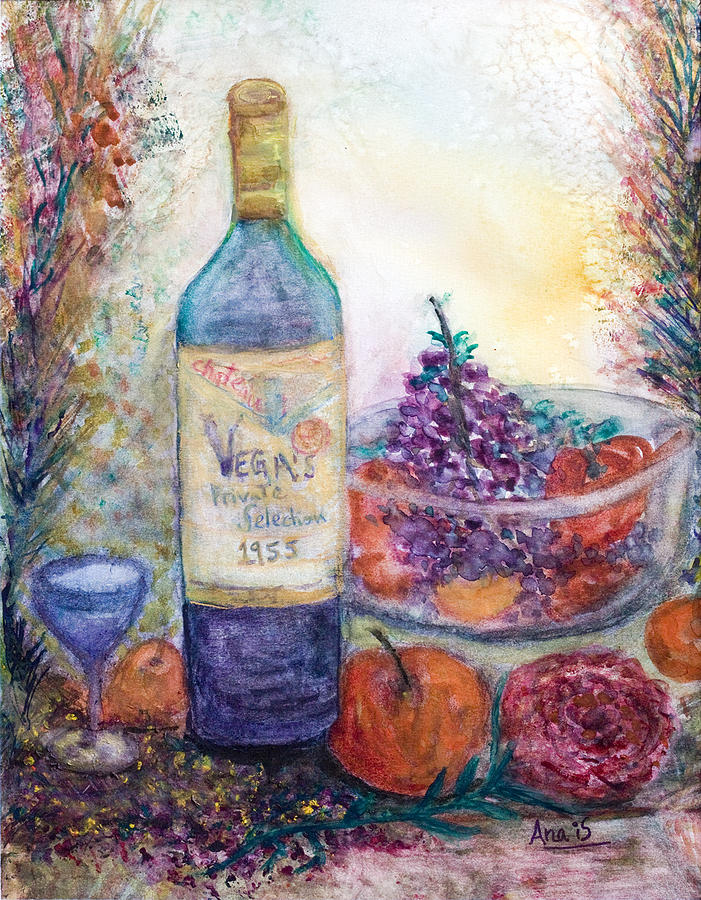 Wine Painting - Wine Bottle Selection  by Anais DelaVega