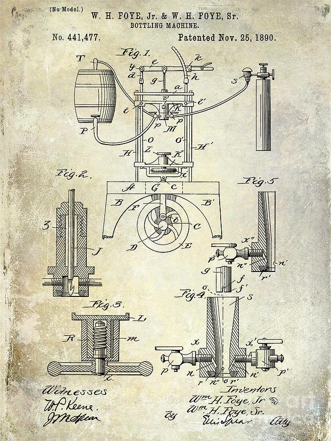 Patent Photograph - 1890 Wine bottling Machine by Jon Neidert