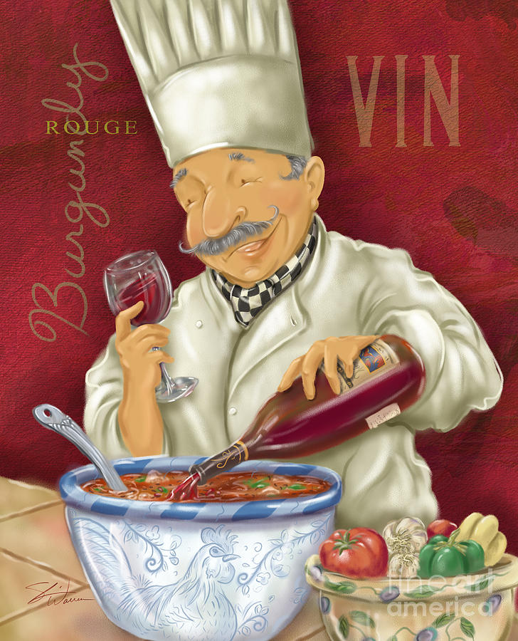 Waiter Mixed Media - Wine Chef II by Shari Warren