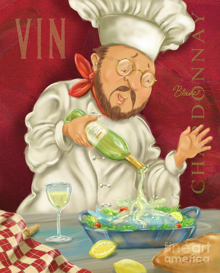 Waiter Mixed Media - Wine Chef IIi by Shari Warren