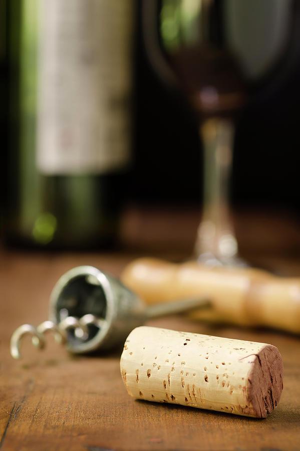 Wine Cork, Corkscrew, Wineglass, And Photograph by 1morecreative