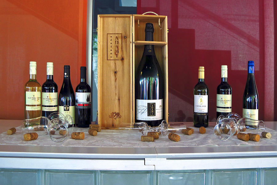 Bottles Photograph - Wine Display by Sally Weigand