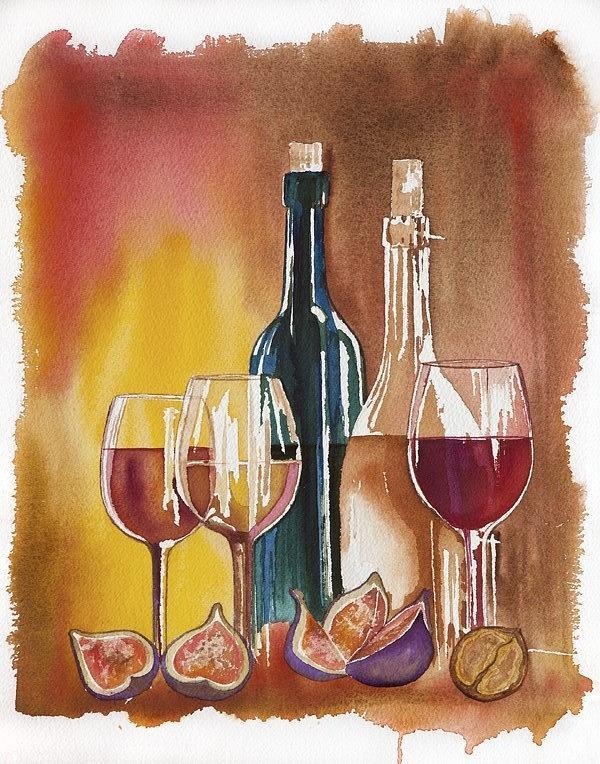Wine Painting - Wine by Elena Mahoney