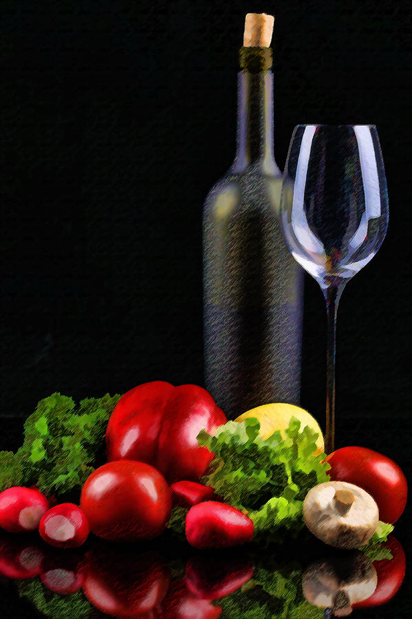 Wine Painting - Wine For A Salad by Elaine Plesser