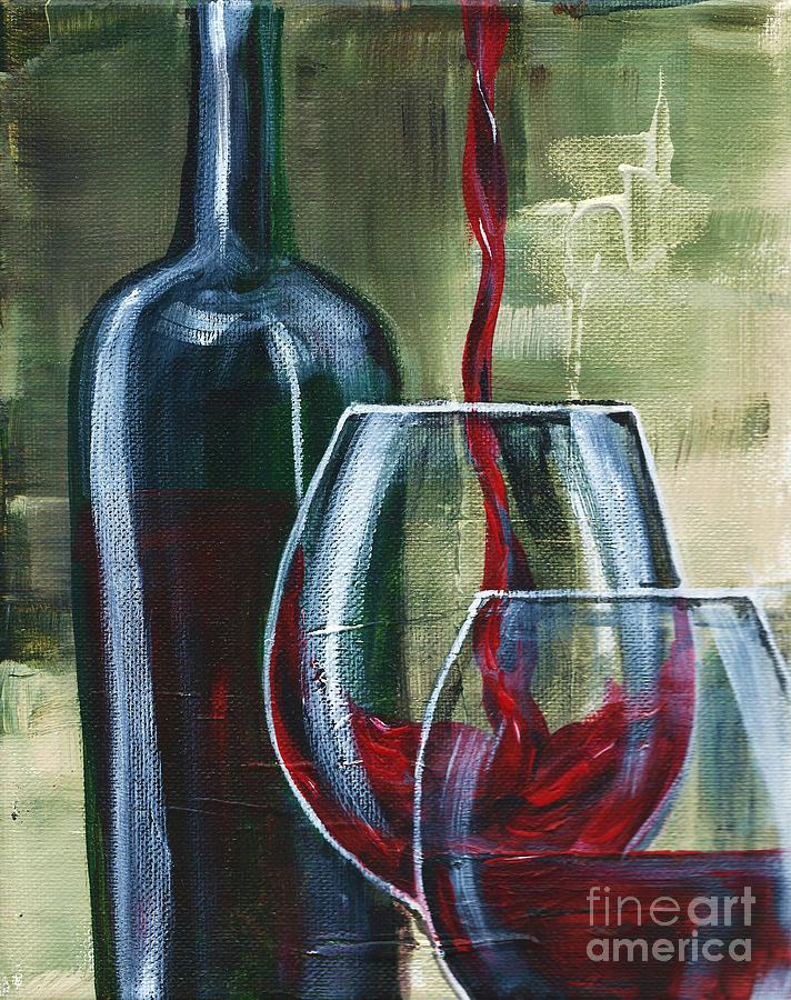 Red Wine Painting - Wine For Two by Lisa Owen-Lynch
