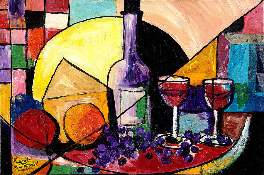 Paintings Painting - Wine Fruit And Cheese For Two by Everett Spruill