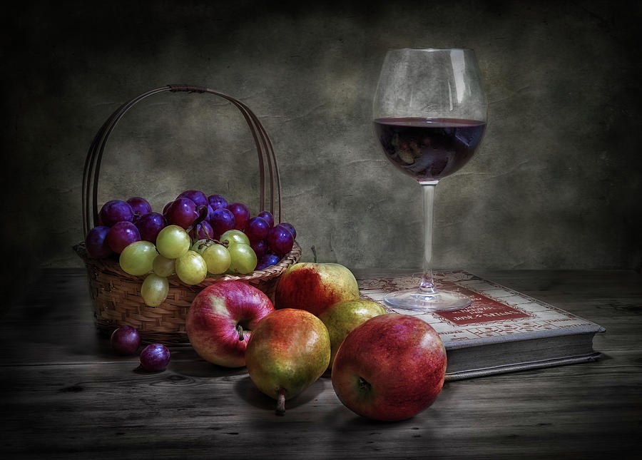 Wicker Photograph - Wine, Fruit And Reading. by Fran Osuna