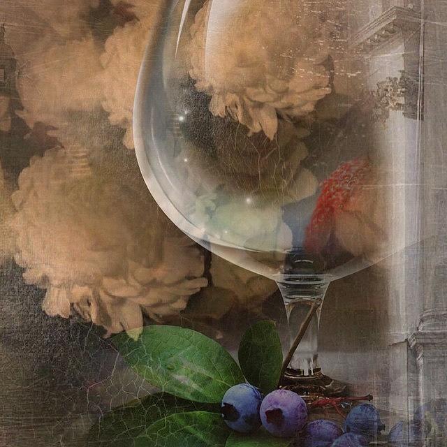 Wine Glass Photograph - Wine Glass And Flowers by Georgiana Romanovna