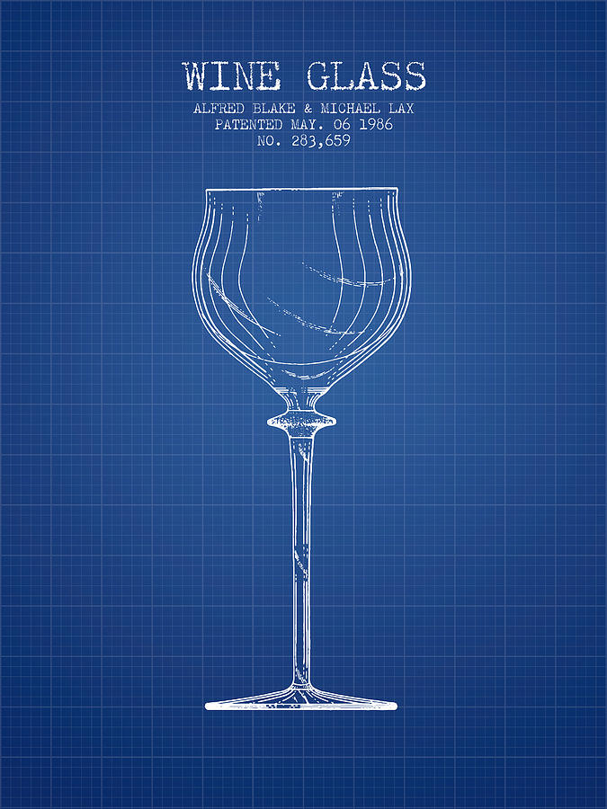 Wine Glass Patent From 1986 Blueprint Digital Art By
