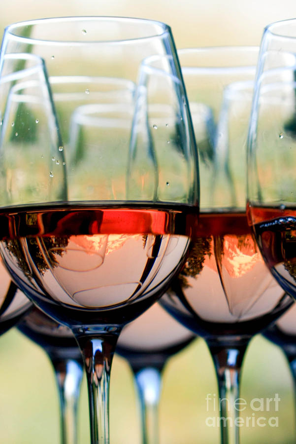 Oregon Photograph - Wine Glasses Filled With Mount Hood by Cari Gesch