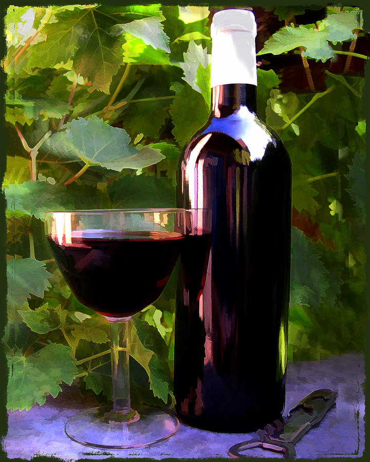 Wine Painting - Wine In The Sunset by Elaine Plesser